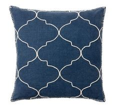 Tile Embroidered Pillow Cover, 22 (two of these with a coral chevron pillow or coral pattern pillow?)