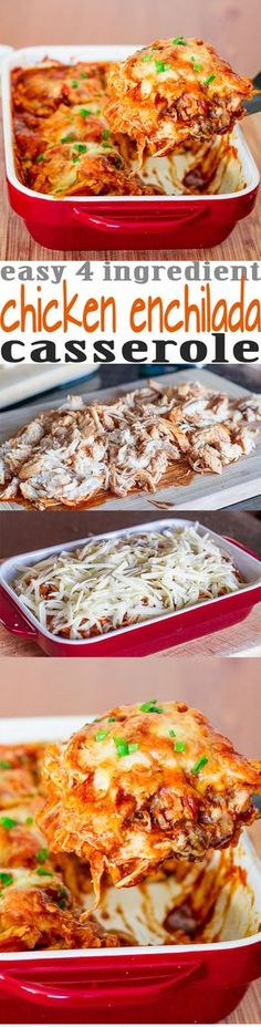 Easy Chicken Enchilada Casserole - 4 ingredients is all it takes to make this popular Mexican dish. It's cheesy, it's spicy, it's sinfully delicious.