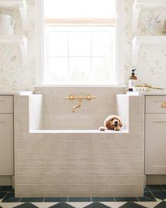Dog Washing Station, Dog Station, Style Me Pretty Living, Ceramic Subway Tile, Winnie, Interior Design Photos, Interior Ideas, Dog Shower, Laundry Room Design