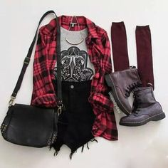 Grunge outfit idea nº4: Flannelette shirt, black ripped jean shorts, studded handbag, maroon knee highs, combat boots, and a half bangle necklace - http://ninjacosmico.com/23-awesome-grunge-outfits/
