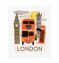 Travel London Illustrated Art Print