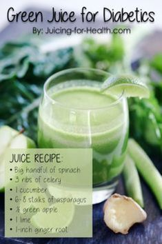 GREEN JUICE FOR DIABETICS: Green juices are an excellent inclusion in a diabetic's diet for what they do for healing, and reducing blood sugar level. This green juice combo is rich with the necessary nutrients that have insulin-like and diuretic effects Diabetic Smoothie Recipes, Diabetic Drinks, Green Juice Recipes, Healthy Juice Recipes, Healthy Juices, Healthy Drinks, Diabetic Fruit, Juicing Recipes For Diabetes, Juicer Recipes