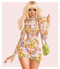 Fashion Illustration Dresses, Fashion Sketches, Fashion Illustrations, Girly Things, Girly Stuff, Flower Power, Comebacks, Floral Tops, Aurora Sleeping Beauty