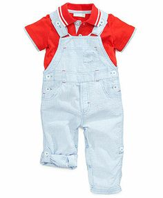 First Impressions Baby Boys' 2-Piece Polo & Seersucker Overall Set