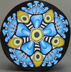 LARGE Blue and Yellow Polymer Clay Kaleidoscope Cane -'Once Upon' (37dd)