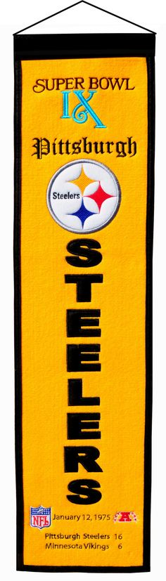 Super Bowl 9 Pittsburgh Steelers 8x32 Wool Heritage Banner