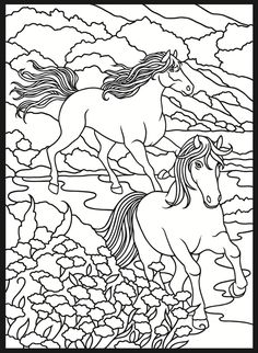 Welcome to Dover Publications / Horses Coloring Book / Marty Noble Horse Coloring Pages, Printable Coloring Pages, Colouring Pages, Coloring Pages For Kids, Coloring Sheets, Coloring Books, Stained Glass Designs, Stained Glass Patterns, Zentangle