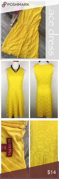 """Yellow Lace Dress Merona Lace dress. Marigold yellow in color. Back zipper, fully lined. Nylon , cotton and spandex. Size small Preowned. #560 Measurements: Bust 17"""" across Waist 15"""" across 27 """" in length from underarm to boots hem. Bundle in my closet and save. I ship same day or next day almost always! Suggested user and top-rated seller. No PayPal's are trades. Merona Dresses Midi"""