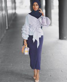 Basma_k has an amazing sense of style! Muslim Women Fashion, Modern Hijab Fashion, Modesty Fashion, Street Hijab Fashion, Islamic Fashion, Fashion Dresses, Hijab Style, Hijab Chic, Modest Wear