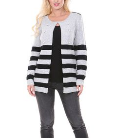 Another great find on #zulily! Gray & Black Button Stripe Cardigan by Venice Blue #zulilyfinds