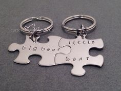 Big Bear Little Bear Keychains Puzzle piece by customhemptreasures