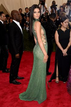 Kendall Jenner in Calvin Klein Collection Gown at 2015 Met Gala in New York City