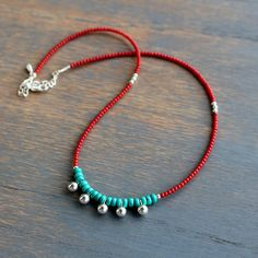 Turquoise and Red Coral Necklace, Boho Chic Turquoise Necklace, Boho Style Beaded Necklace, Red and Blue Necklace, coral and silver necklace - DIY Silber Necklake Blue Necklace, Silver Necklaces, Sterling Silver Earrings, Silver Jewelry, Beaded Necklaces, Silver Rings, Layered Necklace, Necklace Chain, Diy Necklace