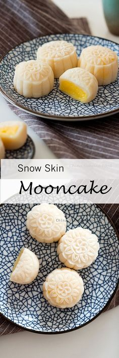 Snow Skin Mooncake Video Recipe with Custard Filling - Asiatische rezepte Asian Desserts, Just Desserts, Delicious Desserts, Yummy Food, Custard Desserts, Asian Snacks, Chinese Desserts, Gourmet Desserts, Baking Desserts