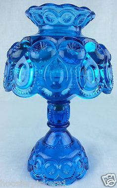 L.E. Smith Blue Moon and Stars Candle table Lamp Light Blue…