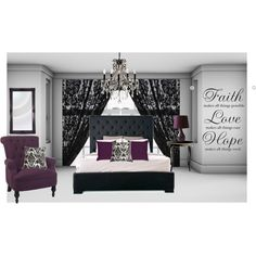 Purple & Damask Bedroom, created by emp82 on Polyvore