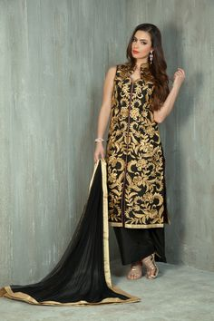 Silk kurta-trouser embellished with gold thread and sequins work. Item number W15-26