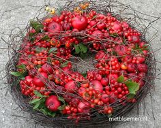 Precious Tips for Outdoor Gardens - Modern Wreaths And Garlands, Outdoor Wreaths, Fall Wreaths, Fruit Decorations, Thanksgiving Decorations, Christmas Decorations, Holiday Decor, Christmas Makes, All Things Christmas