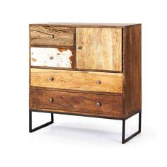 Mueble de madera de mango teñido, con las puertas de los cajones de mango natural, mango teñido, piel de vaca, acacia y traviesas de tren recicladas. Furniture handmade. wooden handle. Rustic decor
