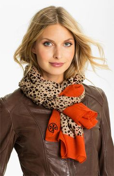 Tory Burch 'Cheetah' Wool Scarf available at #Nordstrom