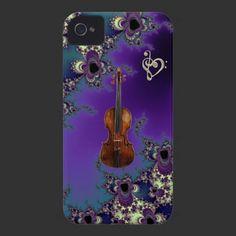 Elegant Violin Love Music Case for iPhone 4