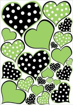 Lime Green and Black Polka Dot Heart Wall Decals Stickers by Presto Wall Decals. $23.99. Instructions and helpful tips come with every order. No paint, No tools, and No wallpaper paste necessary. Removable, repositionable, reusable, Made in USA. 25 individually cut out Green Heart wall stickers on a 25in by 18in Sheet. Quick and easy peel and stick application, decorate any room in minutes. 25 individually cut out Polka dot Heart wall stickers   This set comes on a 18in b...