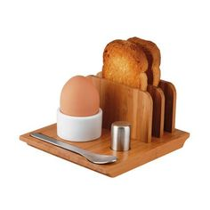 bambo egg cup with toast holder
