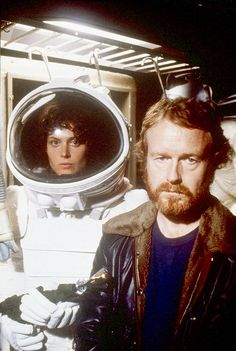 Sigourney Weaver and Ridley Believe it or Scott on set of Alien