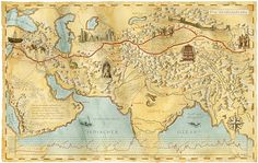 MAPS & ATLAS - SILK ROAD TRADE ROUTES MAP