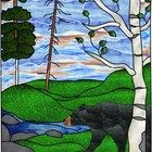 Stained Glass Black Bear Panel - Stained Glass Window Hanging