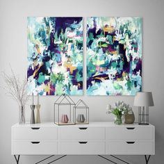 OMAR OBAID - The Finer Things - A large original two-piece diptych abstract painting with a mixed palette of blue, green, yellow and pink. Dimensions: 152x102 cm - Find out more and get design inspiration for your home at OmarObaid.com #abstract #art #originalart #livingroomideas #paintings