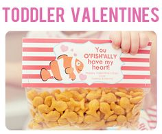 Lots of cute valentine ideas including these toddler-friendly fish. Free printables!