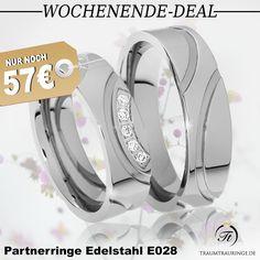 🔥 WOCHENENDE-DEAL 🔥 🔸 #Partnerringe aus Edelstahl mit 5 funkelnden Steinen 🔸 für nur 57,-€/Paar 🔸 inkl. Gravur 🔸 inkl. Ring-Etui 🔸 inkl. Versand 🔸 Preis gilt nur bis zum 25.09.16