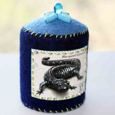 Blue Spotted Salamander Pincushion by thefrogbag on Etsy, $12.50