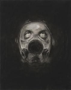 First World War / Helmets & Gasmasks, conté sur mylar / conté on mylar / 2007-2009 / Sophie Jodoin