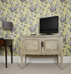 Hide away cables and conveniently store your Sky Box and/or DVD Player in this Victorian TV cabinet.  Painted in Annie Sloan Old White with the inside in Charcoal and heavily aged and distressed with dark wax