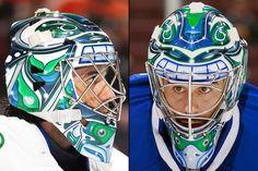 Vancouver Canucks, Ryan Miller 2014-2015 Ryan Miller, Canada Hockey, Goalie Mask, Hockey Goalie, Masked Man, Vancouver Canucks, National Hockey League, Brick Wall, Helmets