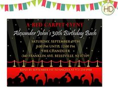 Red Carpet Invitation with Paparrazzi, Hollywood Party, Red Carpet Birthday