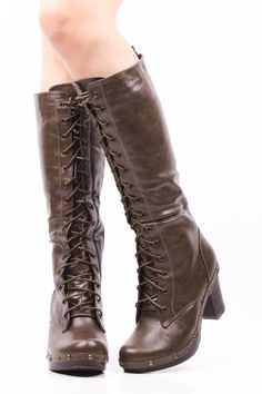OLIVE GREEN LACE UP STUD ACCENT ZIP UP KNEE HIGH BOOTS,Women Boots On Sale-Sexy…