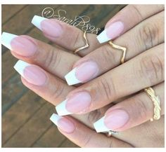 Short French Tip Nails, French Tip Acrylic Nails, French Tips, White French Tip, French Acrylics, Ombre French, White Tip Acrylic Nails, Coffin Shape Nails, Formal Nails