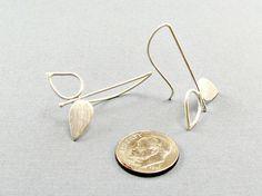 Modern sterling silver earrings handmade by CopperSpineStudio, $40.00