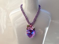 Purple Necklace pendant handmade using Kumihimo and by PastelGems, £38.00