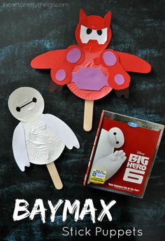 I HEART CRAFTY THINGS: Disney Big Hero 6 Movie Night with Baymax Stick Puppet Kids Craft and Baymax Marshmallow Activity