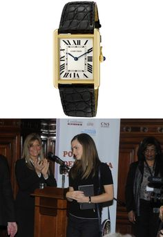 "Emma wore a Cartier Women's Tank Solo Watch to the ""Mujeres a la par"" event held at the Uruguar Parliament.Cartier Women's Tank Solo Watch - £2404.61Worn with: Boucheron Quatre Black Edition Wedding Band & Mary Katrantzou Circle Pochette Bag"