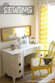 Sewing Room Ideas for Small Spaces 88 while they Snooze Thrift Store Desk Trash to Treasure 4 Desk Makeover, Furniture Makeover, Diy Furniture, Sewing Room Furniture, Sewing Nook, Sewing Spaces, Small Sewing Space, Home Goods Decor, Home Decor
