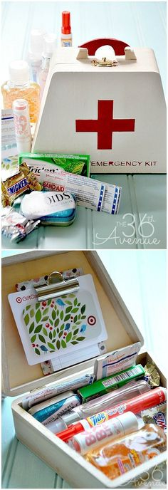 Emergency Kit Gift Idea... Perfect for teachers, friends and teens!  the36thavenue.com #gifts birthday gifts | birthday gifts for mom | birthday gifts for husband | 18th birthday gifts | birthday gifts for teens | cheap birthday gifts