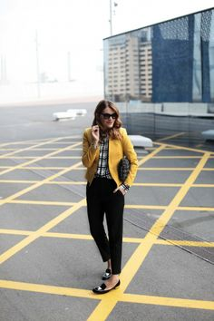 """Even Miriea from My Daily Style, who """"isn't so much into bright colors"""", couldn't resist and bought this amazing jacket. We love the look!  See our post about fresh lemon looks on http://be-in-app.com/lemon-look/"""