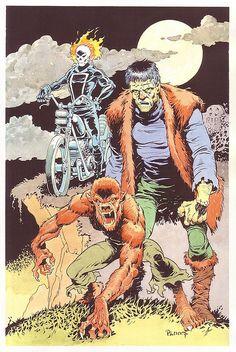 Ghost Rider, Frankenstein Monster and Werewolf By Night by Mike Ploog