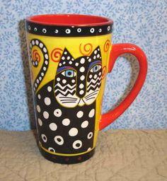 Laurel Burch Polka Dot Cat Latte Mug