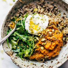 Summer Bliss Bowls with Sweet Potato Falafel and Jalapeño Ranch Recipe - Pinch of Yum Sweet Potato Pizza Crust, Sweet Potato Gnocchi, Sweet Potato Casserole, Falafel, Cheap 30 Minute Meals, Couscous, Paella, Mashed Sweet Potatoes, Poached Eggs